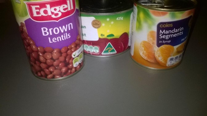 Beetroot, lentil and mandarin salad